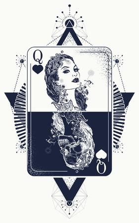 Illustration pour Queen in card tattoo and t-shirt design. - image libre de droit