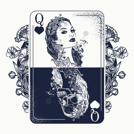 Ilustración de Beautiful girl and queen skeleton. - Imagen libre de derechos