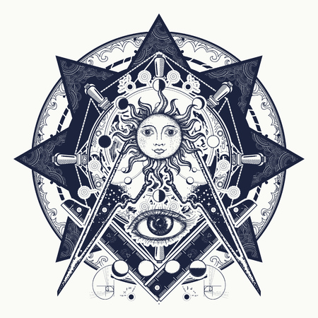 Ilustración de All seeing eye. Alchemy, medieval religion, occultism, spirituality and esoteric tattoo. Magic eye t-shirt design. Mysteries of knowledge of mankind. Masonic symbol tattoo and t-shirt design. - Imagen libre de derechos