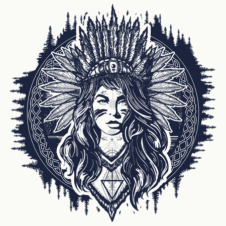 Illustration for Tribal indian woman tattoo and t-shirt design. Native American woman tattoo art. Ethnic girl warrior. Young woman in costume of american indian vector ethnic art - Royalty Free Image