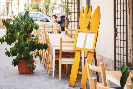 Terrace of outdoor cafe in Syracuse (Siracusa) Sicily