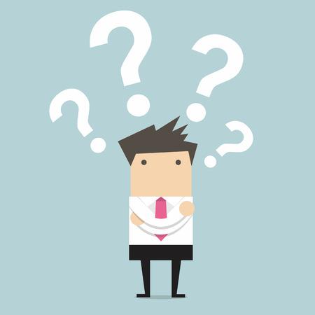 Illustration pour Business man thinking of choice vector - image libre de droit