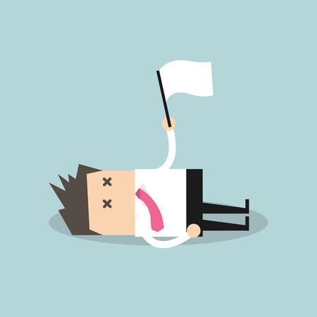 Ilustración de Exhausted businessman lying down on the floor and surrender - Imagen libre de derechos