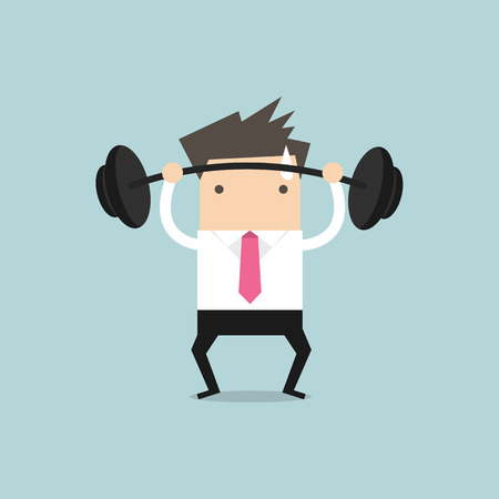 Businessman lifting a heavy weight vector