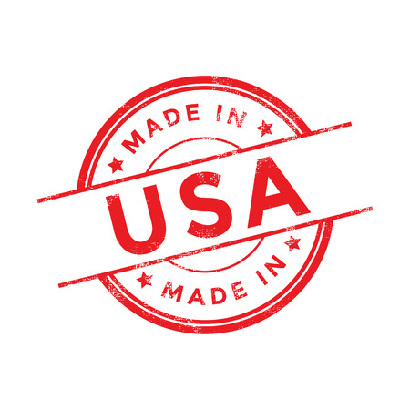 Made in USA red vector graphic. Round rubber stamp isolated on white background. With vintage texture.