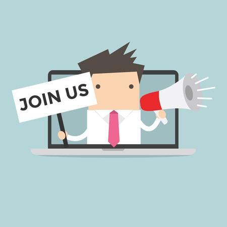 Ilustración de Businessman holding join us sign and megaphone in computer notebook - Imagen libre de derechos