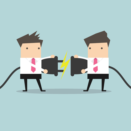 Two businessman trying to connect electric plug vector