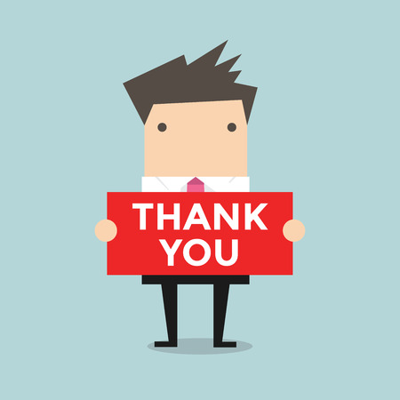 Ilustración de Businessman hands holding Thank you sign vector - Imagen libre de derechos