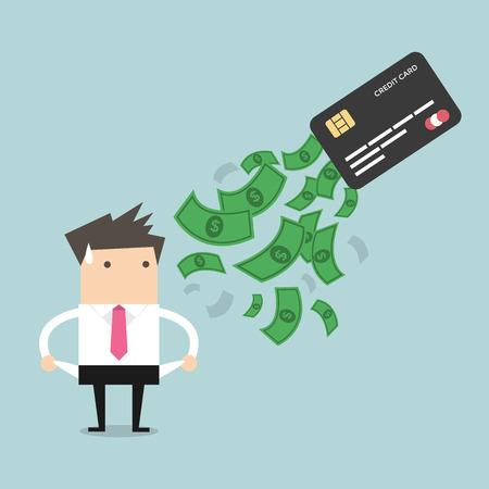 Vektor für Businessman no money. debt from credit card. concept of debt - Lizenzfreies Bild