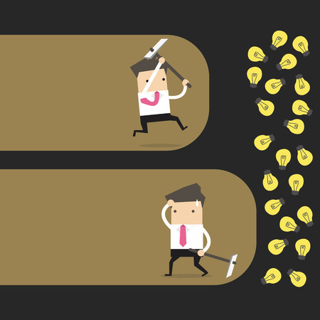 Concept of an Businessman who does not give up and won his prize