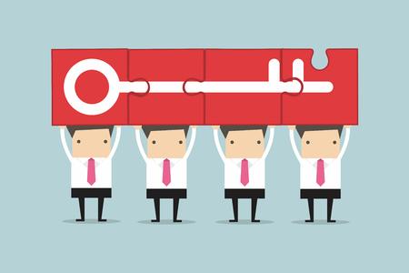 Businessman holding puzzle success key, Teamwork Concept.
