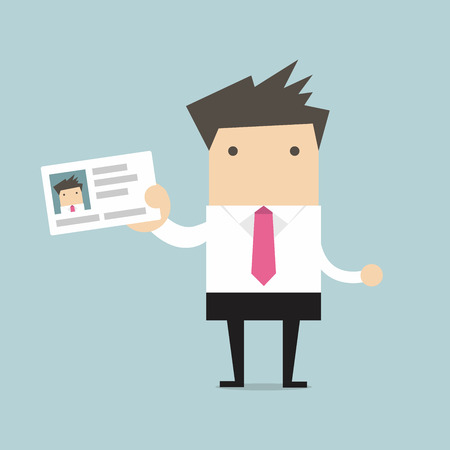 Illustration pour Businessman holding id card in flat style - image libre de droit