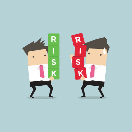 Two businessman carrying risk blocks. Risk management. Business concept vector