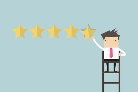 Illustration pour Businessman giving five star rating vector - image libre de droit