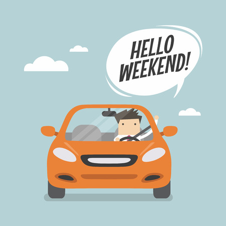 Ilustración de Businessman traveling by car and say Hello weekend. - Imagen libre de derechos