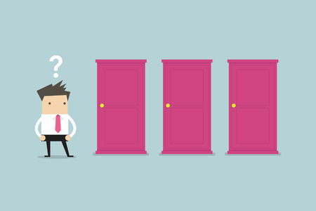 Illustration pour Businessman standing beside three doors, unable to make the right decision concept with question marks above his head - image libre de droit