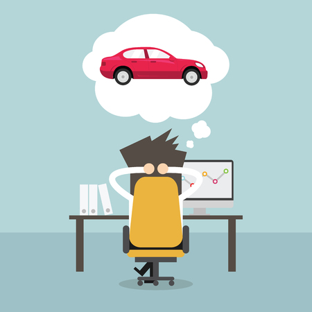 Ilustración de Businessman dreaming about new car. Vector - Imagen libre de derechos