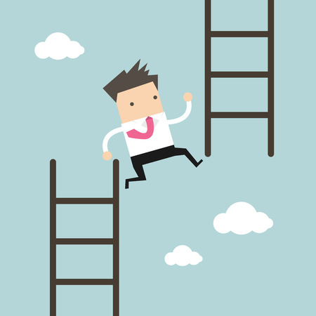 Businessman jump from low stair to high stair. vector