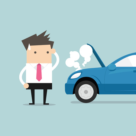 Ilustración de Businessman have a force majeure, a car broke down. vector - Imagen libre de derechos