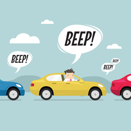 Illustration pour Businessman on the road with traffic jam, honk a horn. vector - image libre de droit