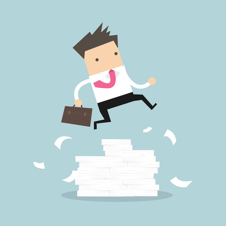 Illustration pour Businessman or manager jumping over obstacles. Large stack of documents. vector - image libre de droit