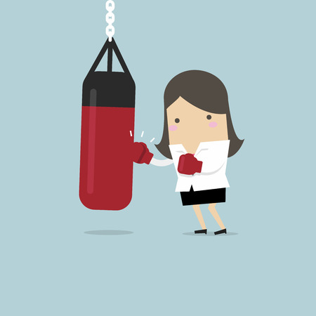 Businesswoman wearing boxing gloves and punching the punch bag. vector