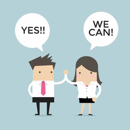 Ilustración de Businessman and businesswoman giving each other a high five, Yes We Can. - Imagen libre de derechos