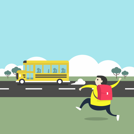 Illustration pour A boy running after a school bus. - image libre de droit