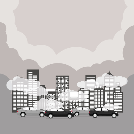 Illustration pour Air pollution with skyscrapers, cars in rush hour. - image libre de droit