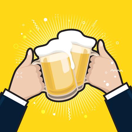 Businessmen holding beer mugs. Beer glasses foam clinking, meeting friends.