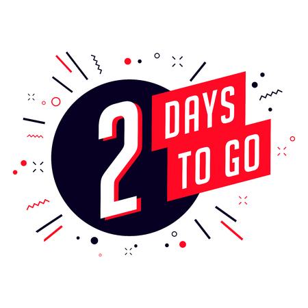 Ilustración de Two days to go. No of days left to go badges. - Imagen libre de derechos