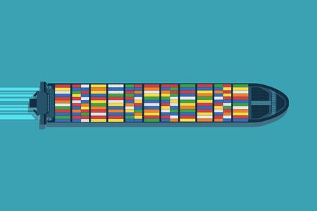 Illustration pour Large container ship at sea. Aerial top view. Cargo to harbor. - image libre de droit