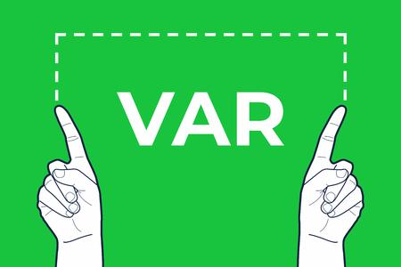 VAR referee hands sign.