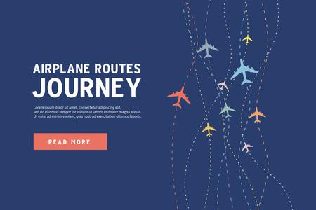 Ilustración de Colorful Airplane line path. Airplane routes of journey banner template. - Imagen libre de derechos