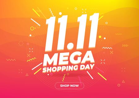 Ilustración de 11.11 Mega shopping day sale poster or flyer design. Global shopping world day Sale on colorful background. 11.11 Crazy sales online. - Imagen libre de derechos