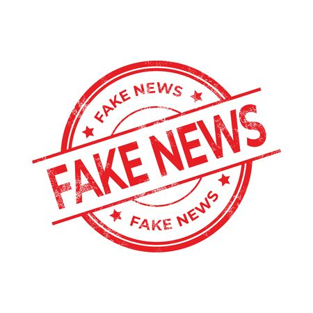 Illustration pour Fake News, Red rubber stamp isolated on white background. - image libre de droit