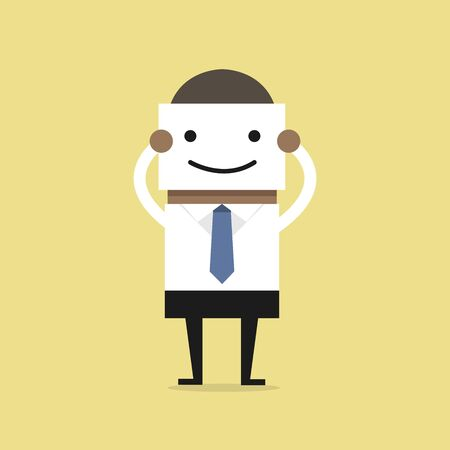 Illustration for African businessman hide his real face by holding smile mask. - Royalty Free Image