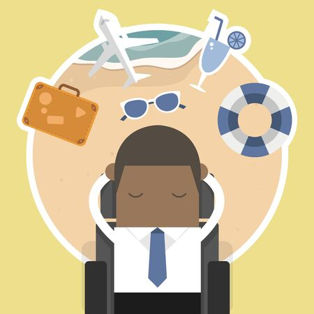 Illustration pour African businessman dreaming about his vacation. - image libre de droit