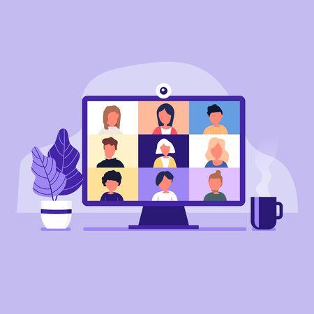 Ilustración de Colleagues talk to each other on the computer screen. Conference video call, working from home. - Imagen libre de derechos