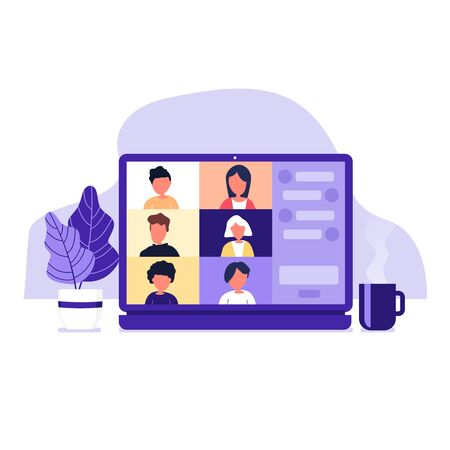 Illustration pour Colleagues talk to each other on the laptop screen. Conference video call, working from home. - image libre de droit