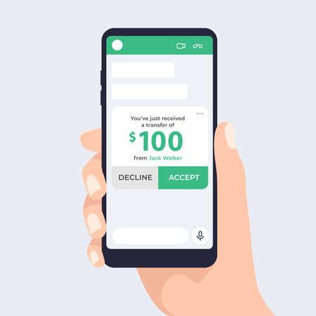 Illustration pour Money transfer via chat. Pay via mobile app. Sending and receiving money. - image libre de droit