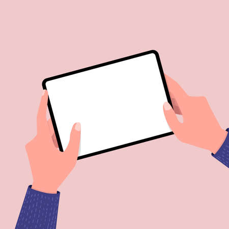 Illustration pour Hands holing tablet computer with blank screen. Editable tablet template. - image libre de droit