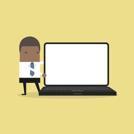 Illustration pour African businessman pointing to laptop display. - image libre de droit