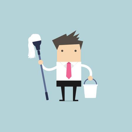 Illustration pour Businessman holding mop and bucket. Cleaning the workplace concept. - image libre de droit