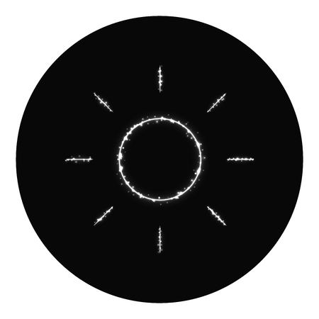 Brightness icon of gray lights on black background. Neon vector icon