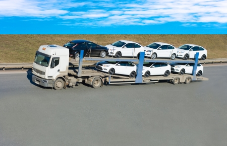 Photo for car carrier truck - Royalty Free Image