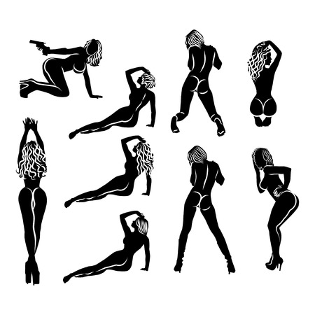 Illustration pour A large set of nine simple black and white silhouettes of sexy girls in different poses. Women sexually are sitting, lying, standing, kneeling - view from the back - image libre de droit