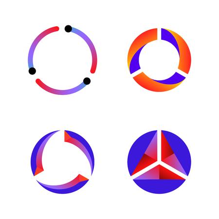 Illustration pour Set of cycle data tech icon vector background - image libre de droit