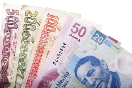 Stock image of five mexican peso banknotes of various denominations over white
