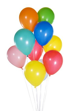 Stock image of colorfun balloons floating. Isolated on white.